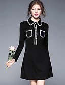 cheap Women's Dresses-Women's Going out Street chic A Line / Sheath Dress - Color Block Shirt Collar