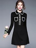 cheap Women's Shirts-YHSP Women's Street chic A Line Sheath Dress - Color Block Shirt Collar