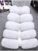 baratos Trench Coats e Casacos Femininos-Mulheres Casaco de Pêlo Sólido Pêlo de Raposa Decote V Estilo Moderno