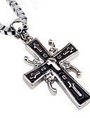 cheap Men's Tees & Tank Tops-Men's Pendant Necklace / Chain Necklace - Cross, Skull European, Hip-Hop Silver Necklace Jewelry One-piece Suit For Club, Bar