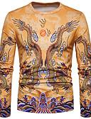 זול סוודרים וקרדיגנים לגברים-חיה צווארון עגול סגנון סיני טישרט - בגדי ריקוד גברים דפוס דרקון / שרוול ארוך