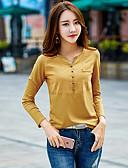 tanie Koszula-T-shirt Damskie Bawełna W serek Solidne kolory