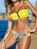 tanie Bikini i odzież kąpielowa 2017-Damskie Falbana Żółty Bikini Stroje kąpielowe - Solidne kolory Nadruk L XL XXL