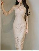 זול שמלות נשים-בגדי ריקוד נשים סגנון סיני מכנסיים - אחיד תחרה בז' / צווארון עגול קצר / ליציאה