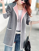 cheap Women's Coats & Trench Coats-Women's Going out Simple / Casual Fall / Winter Long Coat, Solid Colored Shirt Collar Long Sleeve Polyester Pink / Gray / Fuchsia XL / XXL / XXXL