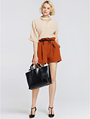 preiswerte Damen zweiteilige Anzüge-Damen Ausgehen Aktiv Bluse - Solide, Chiffon V-Ausschnitt Hose / Sommer