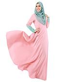 tanie Sukienki-Etniczne / Religijne Arabska sukienka Abaya Jalabiya Damskie Sukienki Styl etniczny Długie Festiwal/Święto Poliester Stroje Szary / Niebieski / Różowy Solidne kolory