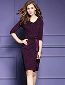 cheap Women's Dresses-Women's Plus Size Going out Street chic Cotton / Polyester Bodycon Dress - Solid Colored Bow / Ruched V Neck