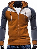 cheap Men's Shirts-Men's Sports Long Sleeve Hoodie - Patchwork Hooded