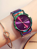 cheap Quartz Watches-Women's Wrist Watch Japanese Calendar / date / day / Chronograph / Water Resistant / Water Proof Stainless Steel Band Luxury / Fashion / Elegant Green / Purple / Two Years / Sony 377