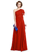 cheap Mother of the Bride Dresses-A-Line One Shoulder Floor Length Chiffon Mother of the Bride Dress with Pleats by LAN TING BRIDE®