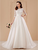 cheap Wedding Dresses-A-Line / Princess Bateau Neck Sweep / Brush Train Tulle Over Lace Made-To-Measure Wedding Dresses with Appliques / Flower by LAN TING BRIDE® / Illusion Sleeve / See-Through / Beautiful Back