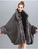 cheap Women's Fur & Faux Fur Coats-Women's Casual / Daily Fall / Winter Long Fur Coat, Solid Colored V Neck Long Sleeve Faux Fur Fur Trim Black / Gray One-Size