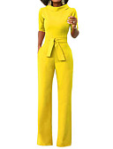cheap Women's Jumpsuits & Rompers-Women's Wide Leg Daily / Weekend Turtleneck Yellow Wine Army Green Wide Leg Jumpsuit, Solid Colored L XL XXL Half Sleeve Spring Summer / Slim