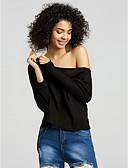baratos Tops Femininos-Mulheres Camiseta Sólido Algodão Decote em V Profundo