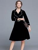 preiswerte Damen Kleider-Damen Retro A-Linie Kleid Solide Übers Knie V-Ausschnitt
