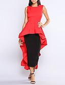 abordables Vestidos de Mujer-Mujer Pantalones - Un Color Rojo, Volante Negro / Fiesta / Asimétrico / Discoteca / Delgado