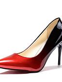 cheap Women's Belt-Women's PU(Polyurethane) Spring / Fall Comfort Heels High Heel Pointed Toe Gray / Red / Color Block