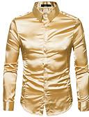 זול גברים-ג'קטים ומעילים-אחיד צווארון קלאסי רזה Party חולצה - בגדי ריקוד גברים בסיסי / שרוול ארוך