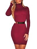 זול שמלות נשים-צווארון עגול קצר מותניים גבוהים מיני אחיד - שמלה נדן יום יומי / סגנון רחוב ליציאה בגדי ריקוד נשים