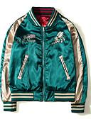זול גברים-ג'קטים ומעילים-אחיד צווארון עגול וינטאג' יומי רגיל ג'קט בגדי ריקוד גברים, חורף קפלים כותנה אקריליק