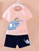 povoljno Kompletići za dječake-Uniseks Dnevno Print Komplet odjeće, Pamuk Ljeto Kratkih rukava Ležerne prilike Obala Blushing Pink Bijela