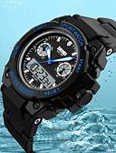 זול שעוני ילדים-SKMEI לזוג שעוני ספורט Japanese דיגיטלי 50 m עמיד במים לוח שנה אזור זמן כפול PU להקה אנלוגי-דיגיטלי פאר יום יומי אופנתי שחור - אדום ירוק כחול / שעון עצר / זוהר בחושך