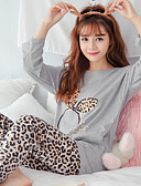 baratos Camisolas e Pijamas Femininos-Mulheres Algodão Decote Redondo Conjunto Pijamas - Outros / Estampado / Outono / Inverno