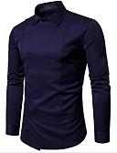 tanie Koszulki i tank topy męskie-Koszula Męskie Bawełna Solidne kolory / Długi rękaw
