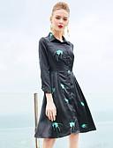 זול שמלות נשים-צווארון חולצה מקסי פרחוני  בוטני - שמלה נדן בגדי ריקוד נשים