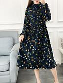 رخيصةأون فساتين موسم الصيف-ميدي رقبة العمل طباعة, بلوك ألوان - فستان فضفاض قطن للمرأة