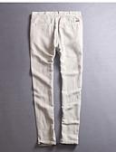 billige Herreskjorter-Herre Normal Hør Joggingbukser Bukser - Ensfarvet Hvid / Forår