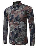 abordables Chemises Homme-Chemise Homme, Fleur - Coton Marine XXXXL / Manches Longues / Automne