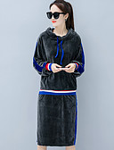 cheap Women's Two Piece Sets-Women's Going out Cotton Hoodie - Solid Colored Skirt Hooded