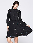 זול שמלות נשים-עומד Ruched דפוס, פרחוני - שמלה גזרת A נדן סווינג בגדי ריקוד נשים