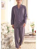זול פיג'מות וחלוקים לגברים-בגדי ריקוד גברים מידות גדולות צווארון חולצה חליפות פיג'מות פרחוני / 2pcs / מותניים גבוהים