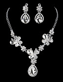 cheap Wedding Dresses-Women's Cubic Zirconia Jewelry Set - Silver Drop Classic, Vintage, Elegant Include Drop Earrings Choker Necklace Bridal Jewelry Sets Silver For Wedding Engagement Ceremony