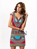 abordables Vestidos de Mujer-Mujer Chic de Calle Pantalones - Tribal Estampado Rojo / Escote en Pico / Mini / Festivos / Delgado