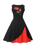 preiswerte Damen Kleider-Damen Ausgehen Chinoiserie Street Schick A-Linie Kleid Blumen Patchwork Übers Knie