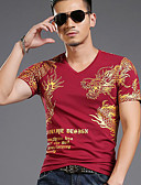 cheap Men's Tees & Tank Tops-Men's Street chic Cotton T-shirt Print V Neck / Short Sleeve