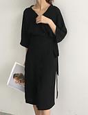 olcso Női pulóverek-Női Pamut Bő Ruha Egyszínű Midi V-alakú