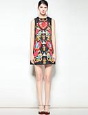 זול שמלות נשים-מעל הברך דפוס, פרחוני - שמלה גזרת A בוהו / סגנון רחוב ליציאה בגדי ריקוד נשים