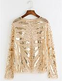cheap Women's Blouses-Women's Club Going out Sophisticated T-shirt - Multi Color, Sequins Mesh Print