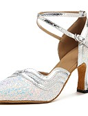 זול גברים-ג'קטים ומעילים-נעליים מודרניות Paillette / דמוי עור סנדלים / עקבים קשתות עקב מותאם מותאם אישית נעלי ריקוד כסף