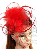 baratos Véus de Noiva-Pena / Rede Fascinadores / Flores / Chapéus com Penas / Pêlo / Floral 1pç Casamento / Ocasião Especial Capacete