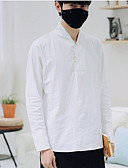 זול טישרטים לגופיות לגברים-אחיד צווארון עומד(סיני) סגנון סיני פשתן, חולצה - בגדי ריקוד גברים / שרוול ארוך