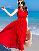cheap Women's Dresses-Women's Holiday Swing Dress - Solid Color Red High Waist Maxi / Spring