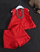 olcso Lány divat-Napi Pamut Bmbuszrost Spandex Egyszínű Tavasz Ujjatlan Lány Ruházat szett Alkalmi Rubin