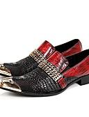 baratos Camisas Masculinas-Homens Sapatos formais Pele Napa Primavera / Outono Oxfords Vermelho Escuro / Casamento / Festas & Noite / Sapatas de novidade