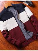 זול סוודרים וקרדיגנים לגברים-קולור בלוק - קרדיגן שרוול ארוך עומד בגדי ריקוד גברים